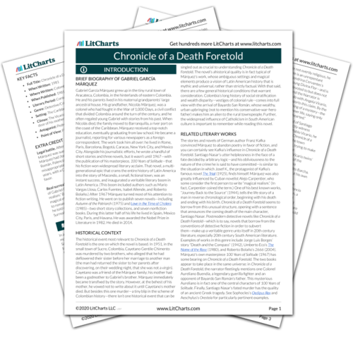 Chronicle of a Death Foretold Study Guide | GradeSaver